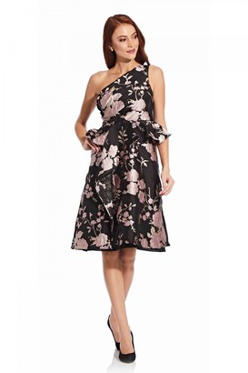 Adrianna Papell One Shoulder Jacquard Dress