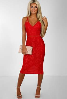 Pink Boutique Cut To The Chase Red Lace Midi Dress