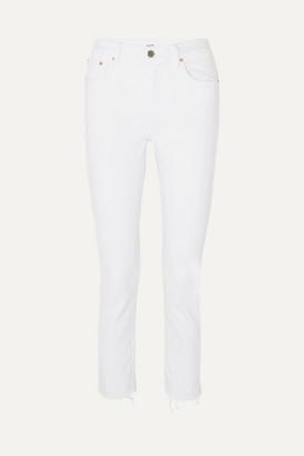GRLFRND Reed Cropped Mid-rise Slim-leg Jeans - White