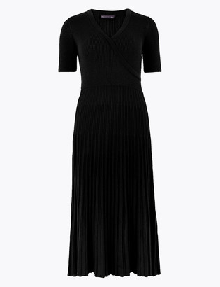 Marks and Spencer Ribbed Knitted Midi Wrap Dress