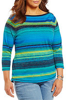 Westbound Plus Boat Neck 3/4 Sleeve Striped Print Top