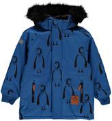 Mini Rodini Penguin Parka with Faux Fur Hood
