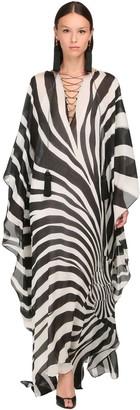 Roberto Cavalli Zebra Print Sheer Silk Maxi Caftan