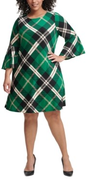 Jessica Howard Plus Size Plaid Bell-Sleeve Sweater Dress