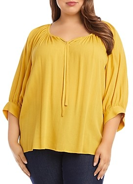 Karen Kane Plus Blouson-Sleeve Peasant Top