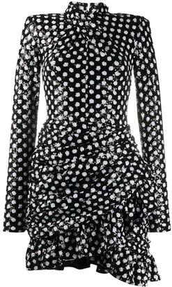 Richard Quinn Ruched Sequin-Embellished Polka Dress