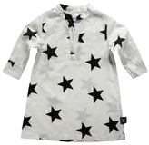NUNUNU - Girl's Cotton Galabiya Tunic - White Stars