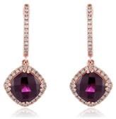 Effy Jewelry Effy Bordeaux 14K Rose Gold Rhodolite Garnet & Diamond Earrings, 4.08 TCW