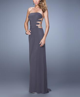 La Femme Women's Special Occasion Dresses Gunmetal - Gray Cutout Bead-Strap Jersey Gown - Women