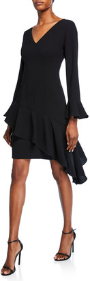 Shani V-Neck Bell-Sleeve Crepe Dress with Asymmetric Skirt Detailing