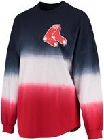 Women's Navy Boston Red Sox Oversized Long Sleeve Ombre Spirit Jersey T-Shirt