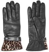 Agnelle Alexa leopard-print calf hair-trimmed leather gloves