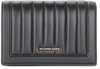 Michael Kors Jet Set Large Shoulder Bag In Black Leather