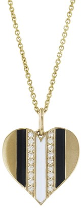 Sydney Evan Black and White Enamel Diamond Heart EXT Tiffany Necklace - Yellow Gold