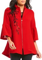 IC Collection Zip Front Asian Flower Detail Jacket