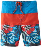 Osh Kosh Boys 4-7 Tropical Print Colorblock Swim Trunks