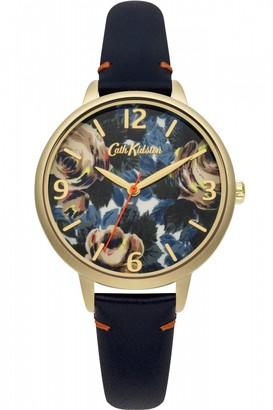 Cath Kidston Ladies Oxford Rose Deep Blue Leather Strap Watch CKL001UG