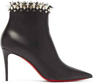 Christian Louboutin Firmamma 85 Studded-cuff Leather Boots - Womens - Black Silver