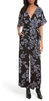 Diane von Furstenberg Women's Tie Front Print Jumpsuit