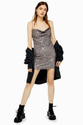 Topshop Womens Sequin Cowl Mini Dress - Gunmetal