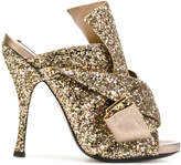 No.21 glitter strap mules