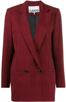 Ganni Suiting checked blazer