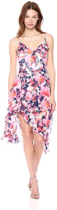 Kensie Women's Floral Printed Walk Through MIDI Dress