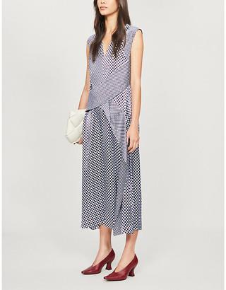 Sportmax Favola geometric-print satin midi dress