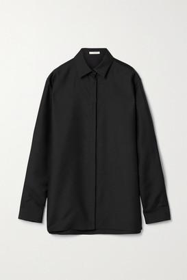 The Row Big Sisea Wool And Silk-blend Poplin Shirt - Black