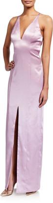 Aidan Mattox Satin Deep V T-Back Halter Column Gown
