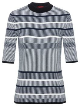 HUGO BOSS Slim Fit Striped Sweater In Super Stretch Yarn - Patterned