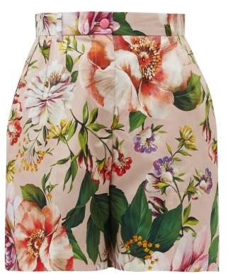 Dolce & Gabbana High-rise Floral-print Cotton-poplin Shorts - Womens - Pink Print