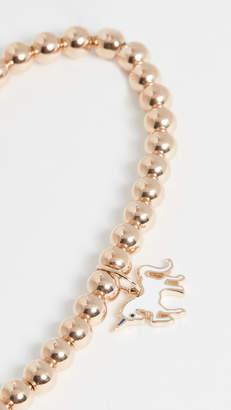 Sydney Evan 14k Gold Beaded Unicorn Charm Bracelet