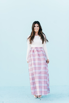 Shabby Apple Evi Plaid Taffeta Skirt Pink