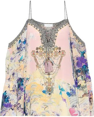 Camilla Cold-shoulder Embellished Printed Silk Crepe De Chine Top