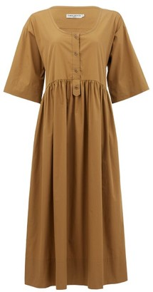 Three Graces London Mary Buttoned Cotton-poplin Midi Dress - Brown