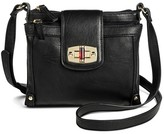 Merona Women's Solid Crossbody Faux Leather Handbag with Turnlock Closure