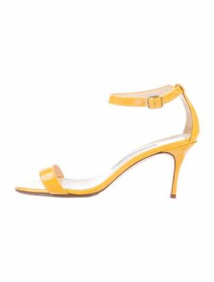 Manolo Blahnik Patent Leather Sandals Yellow
