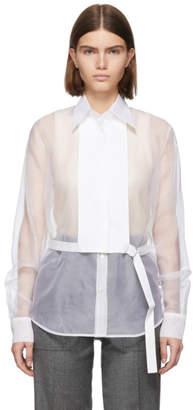 Helmut Lang White Silk Organza Detachable Bib Shirt