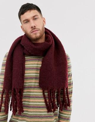 Asos Design DESIGN woven scarf in burgundy texture-Red