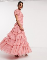 Needle & Thread layered tulle maxi dress in rose pink
