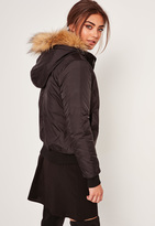 Missguided Black Faux Fur Hood Padded Bomber Jacket