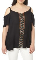 Evans Plus Size Women's Embroidered Off The Shoulder Top