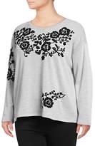I.N.C International Concepts Plus Embroidered Long Sleeve Sweatshirt