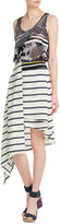Preen Asymmetric Striped Skirt