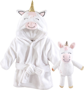 Hudson Baby Girls' Bath Robes Modern - White & Pink Unicorn Robe & Plush Toy Set - Newborn