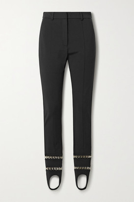 Burberry Chain-embellished Stretch-ponte Slim-leg Stirrup Pants - Black