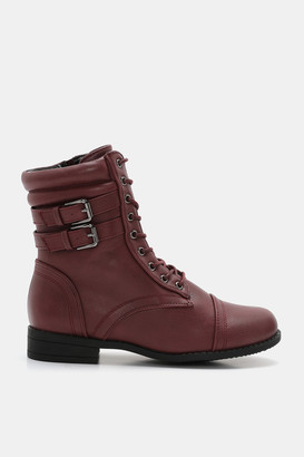 Ardene Plaid Lined Combat Boots - Shoes |