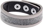 Adele Marie Leather and Diamante Snap Bracelet, Grey