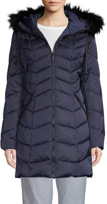 T Tahari Faux Fur-Trim Puffer Jacket